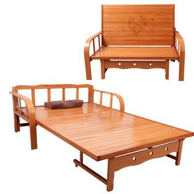 竹折叠沙发床两用单人多功能简易午休午睡双人凉床实木推拉硬板床