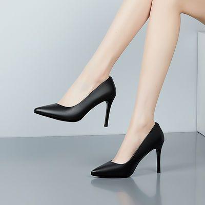 高跟鞋女2020新款黑色真皮工作鞋职业百搭细跟粗跟尖头浅口空姐鞋
