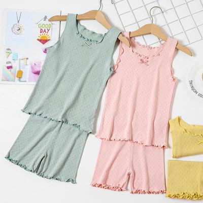 女童套装夏薄款儿童螺纹棉家居服中小童背心打底短裤两件套安全裤