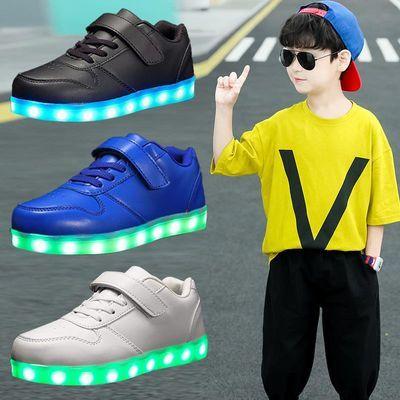 新款七彩LED儿童灯鞋男女童发光鞋 可USB充电 皮面休闲运动鞋学生
