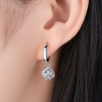 纯银耳扣韩国魔方水晶耳环女气质长款个性显脸瘦网红耳环潮人新款