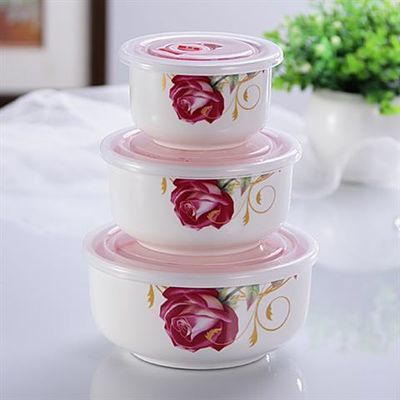 【现代官窑出品】带盖陶瓷保鲜泡面碗三件套微波炉密封便当保鲜盒