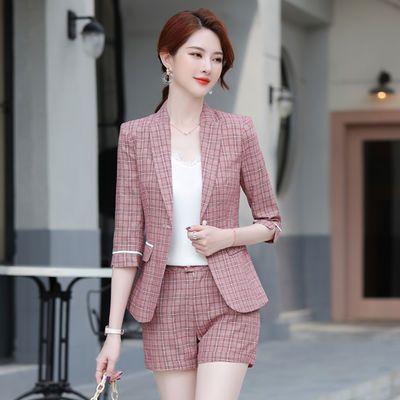 粉色格子小西装外套女2020夏季短裤套装韩版时尚休闲西服套装女潮