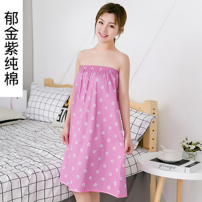 新款纯棉浴裙美容院顾客女士专用汗蒸服睡衣服纯棉抹胸裹胸浴巾浴