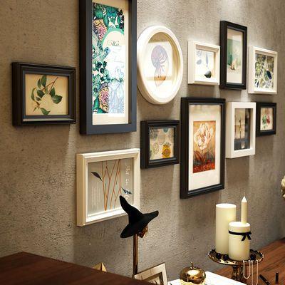 实木照片墙装饰相框挂墙画框免打孔客厅背景墙装饰画匡挂墙相片墙