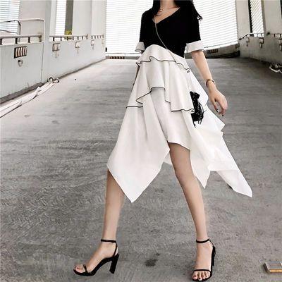 2020年新款裙子夏季韩版女装网红潮不规则短袖修身显瘦连衣裙长裙