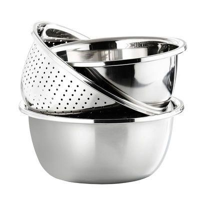 【三件套】不锈钢盆洗菜盆家用厨房沥水篮汤盆和面打蛋淘米水果盆