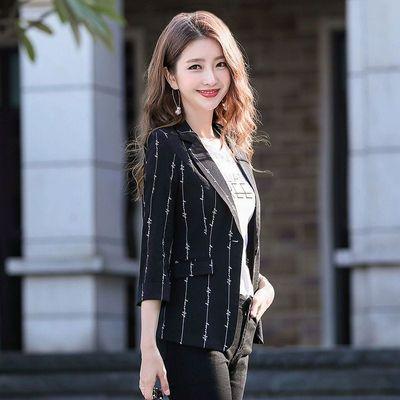小西服外套女2020夏季新款韩版修身女士条纹印花七分袖休闲上衣女
