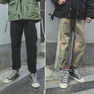 LMTNZD日系青少年卡其色休闲裤男士春夏款潮流百搭宽松直筒工装裤