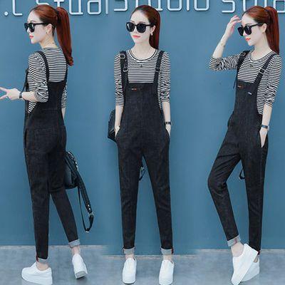 高含棉牛仔背带裤女两件套套装2019春装新款韩版减龄显瘦背带裤女