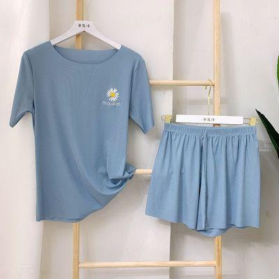 夏薄款冰丝睡衣女短袖短裤两件套韩版小雏菊刺绣家居服套装可外穿