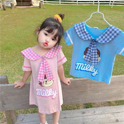 儿童夏季连衣裙网红洋气2020新款女童短袖学院风裙男童卡通短袖T