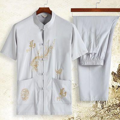 夏季唐装男中老年人短袖套装爸爸晨练服中国风爷爷装上衣刺绣汉服