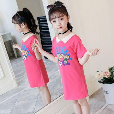 女童夏装短袖t恤洋气长款打底衫13岁女孩衣服儿童纯棉上衣童装女