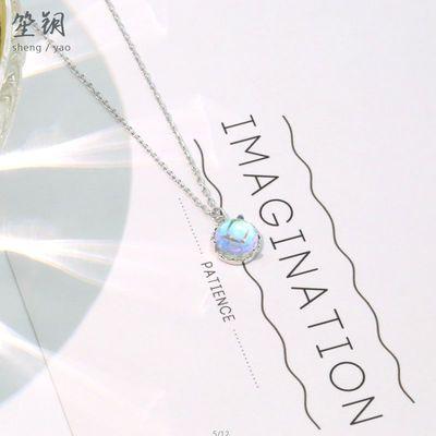 s925银极光水晶项链女韩版小清新蓝梦岛月光石锁骨链气质短款闺蜜