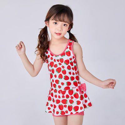 新款儿童泳衣 女孩连体裙式平角速干 中大童印花游泳衣 女童泳装