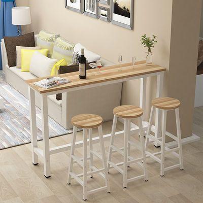 小吧台桌高脚桌长条窄桌子客厅家用餐厅简约酒吧隔断靠墙桌椅组合