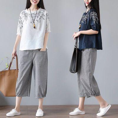 2020夏季新款实拍大码女装复古文艺刺绣棉麻T恤阔腿裤套装两件套