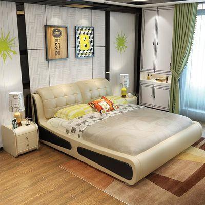 皮床 双人床真皮软体床真皮 皮艺软体婚床床双人床1.8米主卧2人床
