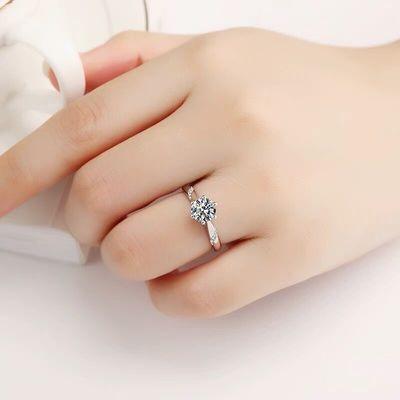 新款PT950铂金经典六爪钻戒女 莫桑石戒指1/2/3克拉求婚订婚戒指