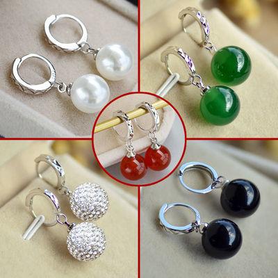 925纯银耳扣天然玛瑙珍珠耳环奥地利水晶耳饰品闪钻女款长款耳圈