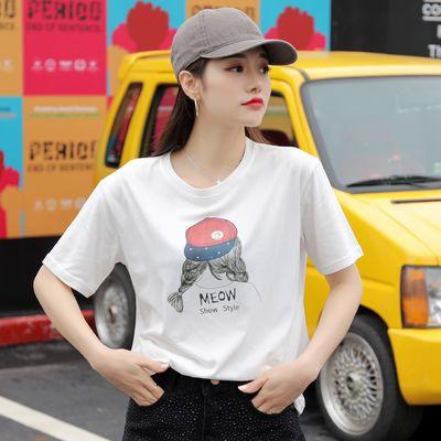 印花短袖T恤女装2020夏季新款甜美可爱少女图案体恤网红ins打底衫