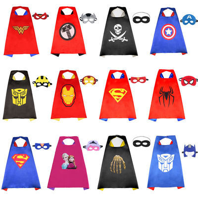 儿童万圣节表演服装披风男女超人美国队长蝙蝠侠蜘蛛侠斗篷钢铁侠