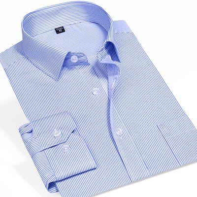 夏季男装衬衫外套长袖格子衬衫中青年商务休闲潮流衣服男条纹薄款