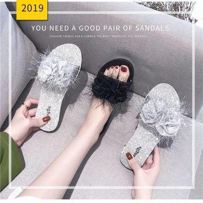 ing网红拖鞋女外穿2019新款夏季百搭毛毛一字拖时尚学生平底凉鞋