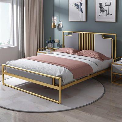 北欧网红ins风铁艺床双人床公寓床1.2米铁床简约现代单人床铁架床
