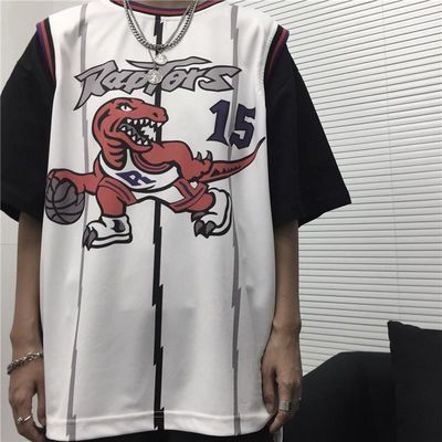 INSstudios.20ss韩国ins复古嘻哈网红球衣背心假两件短袖T恤 男女