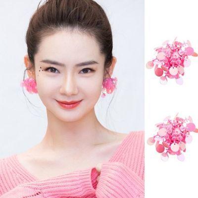 快乐大本营戚薇同款亮片耳钉时尚超仙百搭淑女气质f粉色花朵耳环