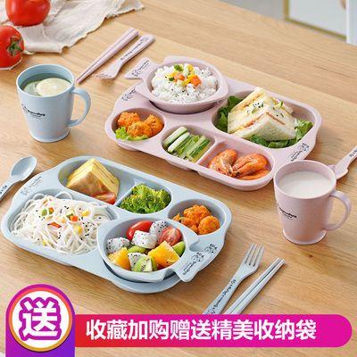 卡通儿童餐盘餐具套装幼儿园午餐盘子分格宝宝防摔吃饭小麦碗水杯