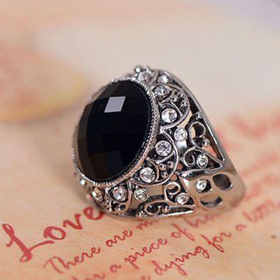 黑色宝石戒指女食指网红个性潮人欧美复古镶钻大时尚夸张装饰指环