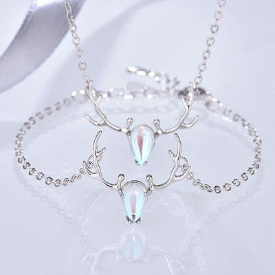 一鹿有你项链女锁骨链纯银鹿角925银手链套装月光石饰品学生闺蜜