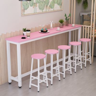 靠墙吧台桌家用简约吧台高脚桌酒吧桌奶茶店桌椅组合长条桌窄桌子