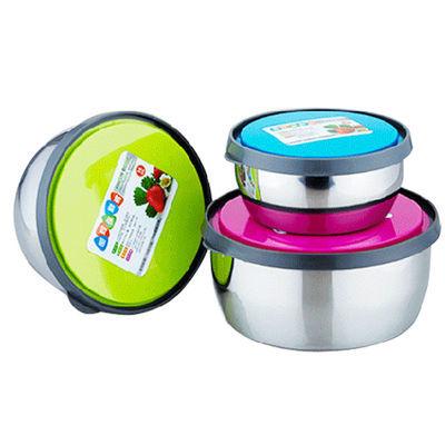 三件套不锈钢保鲜盒 韩式带盖密封保鲜碗 冰箱收纳碗多用食物碗