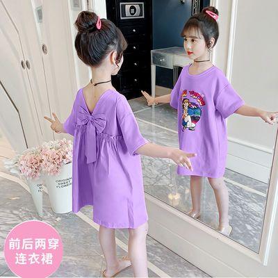 女童连衣裙夏装2020新款洋气女孩短袖长款T恤裙韩版夏季儿童裙子