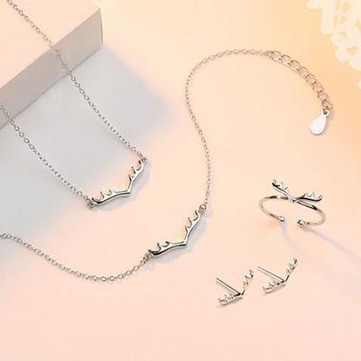 一鹿有你项链女锁骨链纯银鹿角银手链套装月光石饰品学生闺蜜