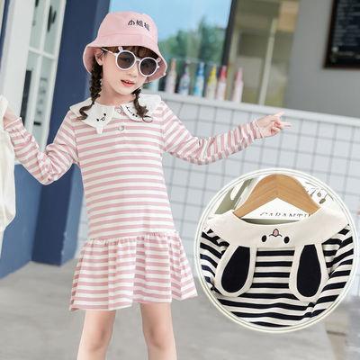童装儿童T恤纯棉2020春夏季新款长袖打底衫女童卡通中长款t恤春装