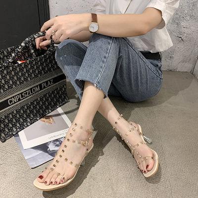 柳钉凉鞋女高跟鞋夏季新款仙女风透明露趾一字水晶罗马凉鞋女细跟