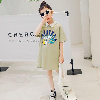 女童短袖t恤2020新款夏装韩版中大童洋气中长款儿童夏季连衣裙恤