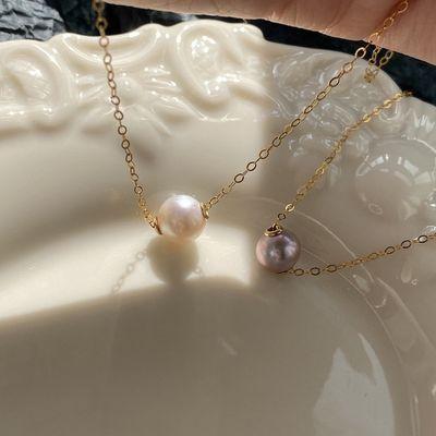 天然淡水珍珠美国14K包金珍珠项链少女锁骨链路路通吊坠韩版颈链
