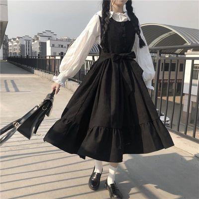 春季套装女学生韩版宽松灯笼袖白衬衫+系带显瘦背心连衣裙两件套