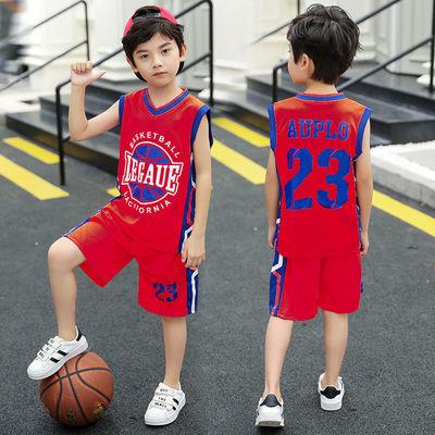 男童夏装篮球服套装儿童8运动9夏10无袖12大童男13背心15岁足球服