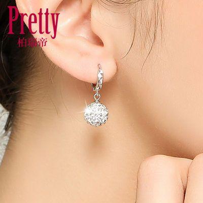 纯银耳环女网红圆球形耳坠满钻水晶耳钉女气质简约韩国耳扣耳饰品