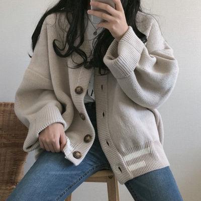 柔风慵懒上衣针织运动上衣女宽松温柔外套衫女温柔风开衫针织衫