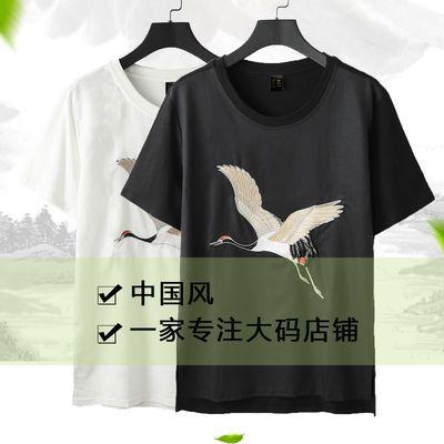 夏季中国风男装亚麻短袖男刺绣半袖潮流白色宽松打底圆领棉麻t恤