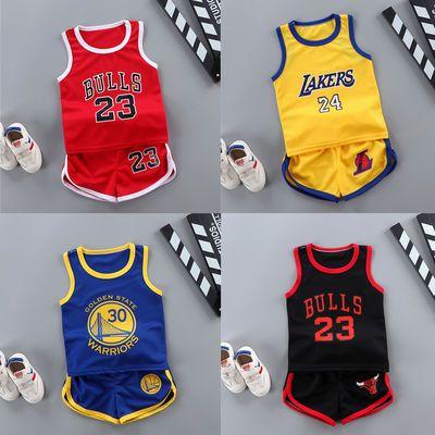 夏季儿童背心短裤套装男中大童运动篮球服速干球衣无袖两件套衣服