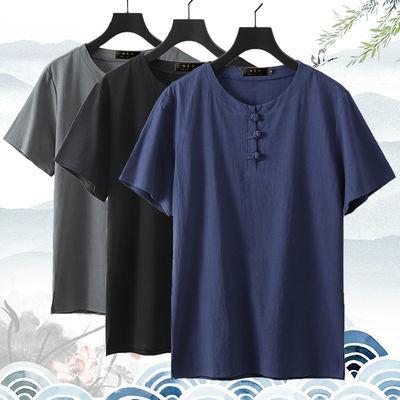 夏季薄款男装加肥加大码棉麻装胖子宽松亚麻短袖T恤男休闲体恤衫